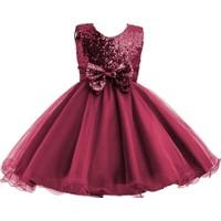 Butikhappykids Kız Çocuk Şarap Rengi Payetli Abiye Elbise