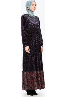 Taşlı Kadife Elbise - Lacivert - Ginezza
