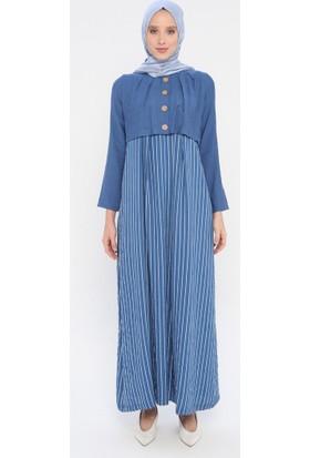 Çizgili Elbise - İndigo - Ginezza