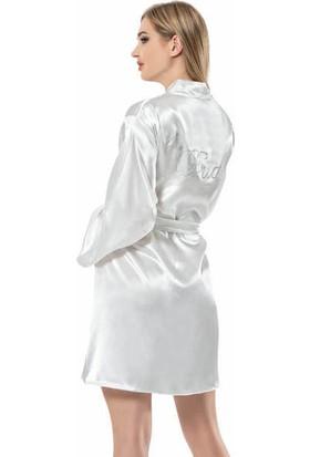 Moongirl Bride İşlemeli Saten Sabahlık 1153