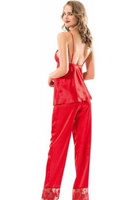 Moongirl Kırmızı Dantel Detaylı Saten Pijama Sabahlık Takımı 1107