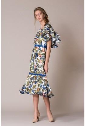 GIZIA Volan Detaylı Midi Elbise