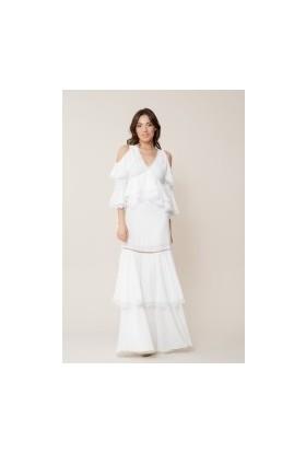 GIZIA Güpür Detaylı Beyaz Uzun Elbise