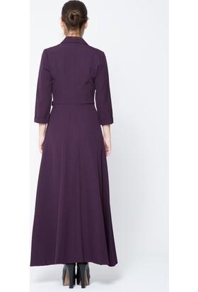 GIZIA Bordo Uzun Ceket Elbise