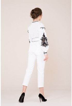 GIZIA Dar Paça Beyaz Pantolon