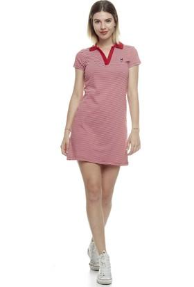 Divon Kadın Kırmızı Çizgili Pike Tavsan Nakışlı Elbise 9Ybeldı8013