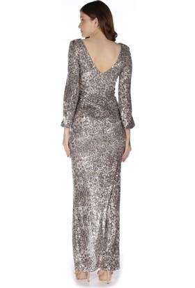 Carmen Pudra Yırtmaçlı Uzun Kollu Abiye Elbise