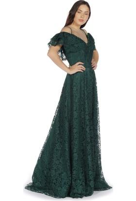 0f4a50197dbdd ... Pierre Cardin Yeşil Dantelli Düşük Kollu Uzun Abiye Elbise ...