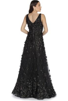 8e86ffc30625e ... Pierre Cardin Siyah Çiçekli Tül Uzun Abiye Elbise ...