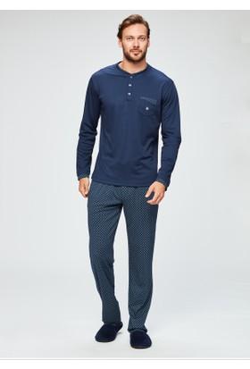 Dagi Erkek O Patli Altı Mint Desenli Uzun Kol Pijama Takımı Lacivert