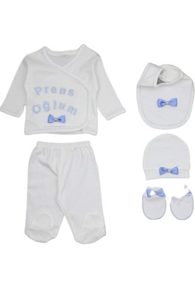 Petino 5 Li Prens Oğlum Erkek Bebek Hastane Çıkışı Zıbın Seti
