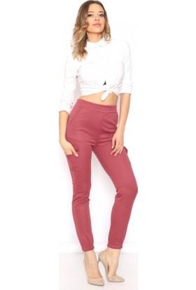 Lady Hürrem Bordo Renk Yüksek Bel Yanları Cepli Kadın Pantolon