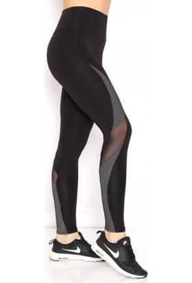 Lady Hürrem Ekstra Yüksek Bel Tül Detaylı Siyah Sporcu Taytı