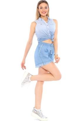 Lady Hürrem Yüksek Bel Açık Mavi Renk Kadın Kot Şort