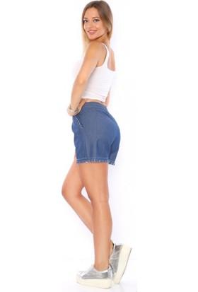Lady Hürrem Yüksek Bel Koyu Mavi Renk Kadın Kot Şort