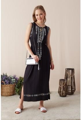 e165081476ec5 Eka Kadın Desenli Beli Lastikli Elbise-Siyah ...