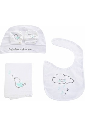 White & Begie Cloud Nakışlı Bebek Seti