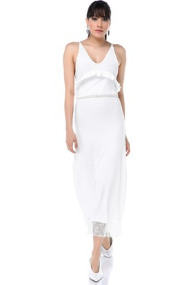 Ust Kadın Ortası Dantelli Beyaz Elbise