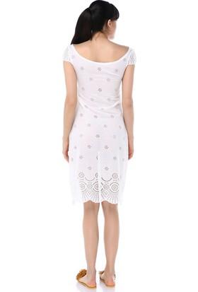 Ust Kadın Elbise Beyaz Dantel