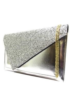 Brs Bags Kadın Porttföy Çanta Cam Kırığı Gümüş