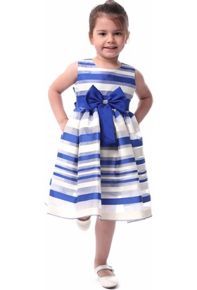 Unika Moda Lacivert Beyaz Çizgili Kabarık Etekli Kız Çocuk Parti Elbisesi