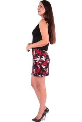 Red Hot Best Siyah Baskılı Yazlık Elbise