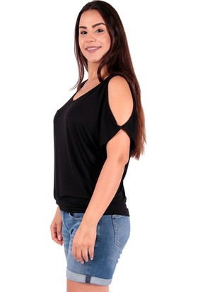 Red Hot Best Açık Omuzlu Siyah Bayan Bluz