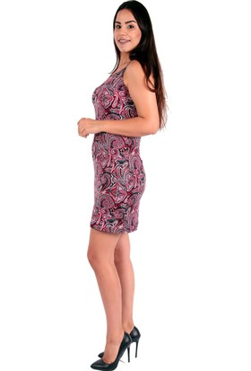 Red Hot Best Şal Desenli Yazlık Askılı Dizüstü Elbise