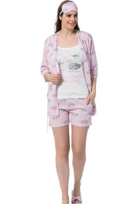 İnsta Pijama Balık Desenli Şortlu Sabahlıklı Pijama Takımı