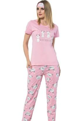 İnsta Pijama The Best Friends Desenli Kısa Kollu Pijama Kadın Takımı