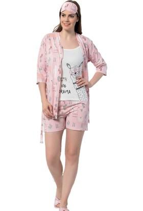 İnsta Pijama Lama Desenli Şortlu Sabahlıklı Pijama Takımı
