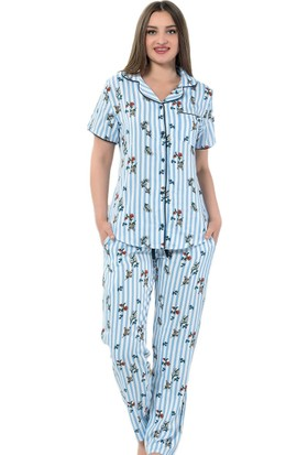 İnsta Pijama Blue One Exculusive Collection İpek Saten Pijama Takımı