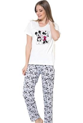 İnsta Pijama Mickey Mouse Desenli Kısa Kollu Pijama Takımı