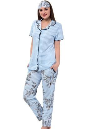 İnsta Pijama Mavi Çiçek Kuş Desenli Önden Düğmeli Kısa Kollu Pijama Takımı