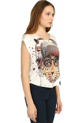 Dükkan Moda Kadın Kaplan Desenli Bluz