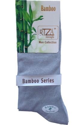 Rıza Savcıoğlu Bambu Dikişsiz Erkek 12'li Çorap Gri