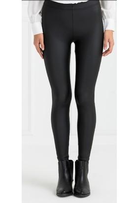 İncebelli Collection Kadın Mat Iç Polarlı Yüksek Bel Deri Siyah Tayt Pantolon