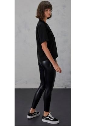 İncebelli Collection Kadın Parlak İç Polarlı Yüksek Bel Deri Siyah Tayt Pantolon