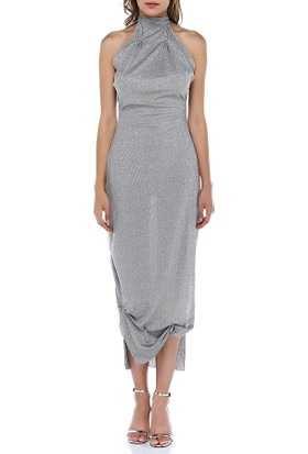Tantrona Parlak Kumaş Boyundan Bağlı Sırtı Açık Elbise