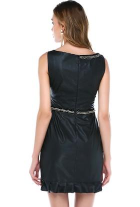Tantrona Aplik İşlemeli Fırfırlı Kruvaze Deri Elbise