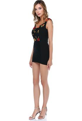 Tantrona Vücuda Oturan İşlemeli Mini Elbise