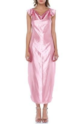 Tantrona Dökümlü Saten Sırt Dekolteli Degaje Yakalı Elbise
