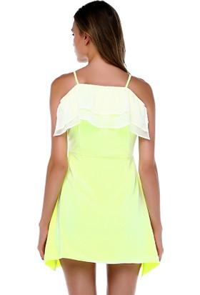 Tantrona İnce Askılı Fosfor Yeşili Kolsuz Elbise