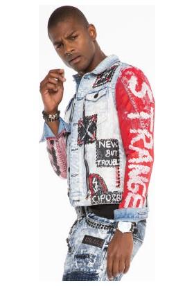 Cipo&Baxx CJ241 El Yazısı Boyama Fermuar Kot Erkek Jean Ceket