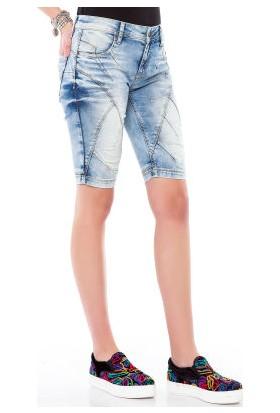 Cipo&Baxx WK145 Dekoratif Dikişli Açık Mavi Kadın Kot Şort