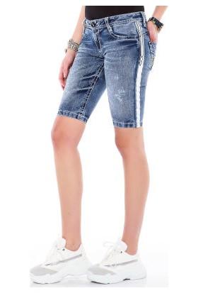 Cipo&Baxx WK147 Şeritli Cepleri Nakışlı Mavi Kadın Kot Şort