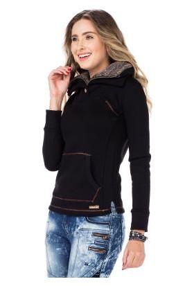 Cipo&Baxx WL188 Çift Kat Yakalı Düz Siyah Cepli Kadın Sweatshirt