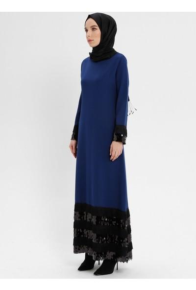 Payet Detaylı Elbise - Lacivert - Bürün
