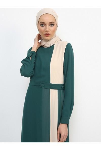 Garnili Şifon Elbise - Zümrüt Krem - Refka