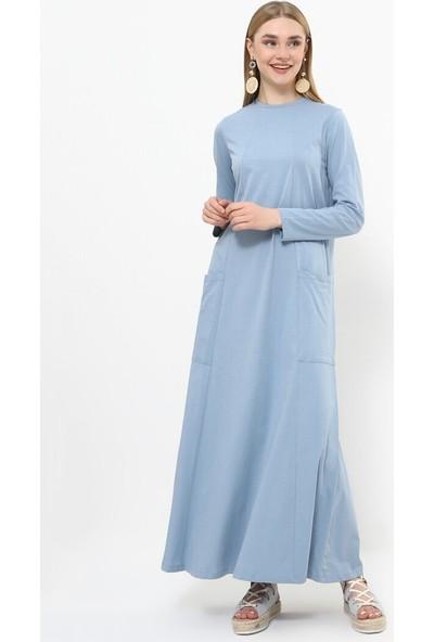 Doğal Kumaşlı Cep Detaylı Elbise - Açık İndigo - Everyday Basic